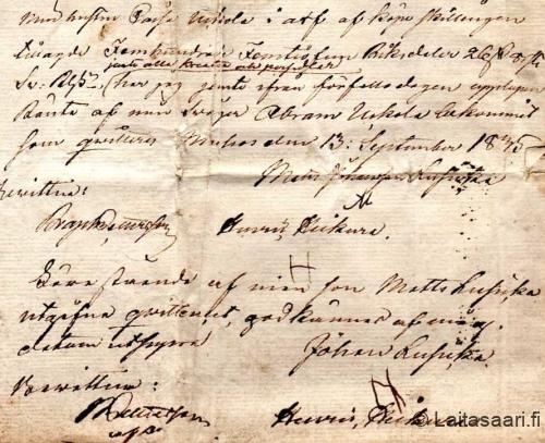 Matti Lusikan ja isänsä Juho Lusikan puumerkit (1835)